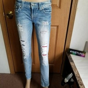 Miss Me Signature Cuffed Skinny Distressed patched